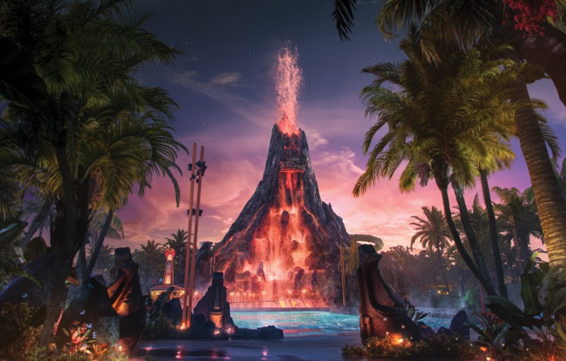 Universal's Volcano Bay at Night
